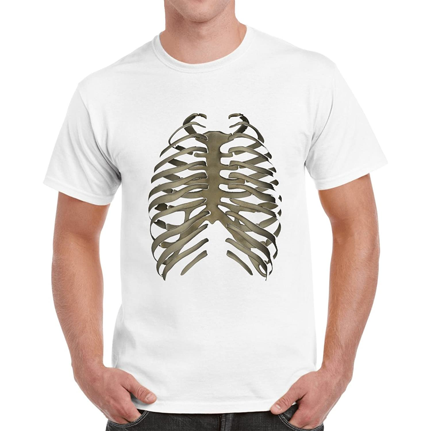 37580317 GeekDawn Men's Round Neck Funny Medical T-Shirt(Skeleton Ribs), White:  Amazon.in: Clothing & Accessories