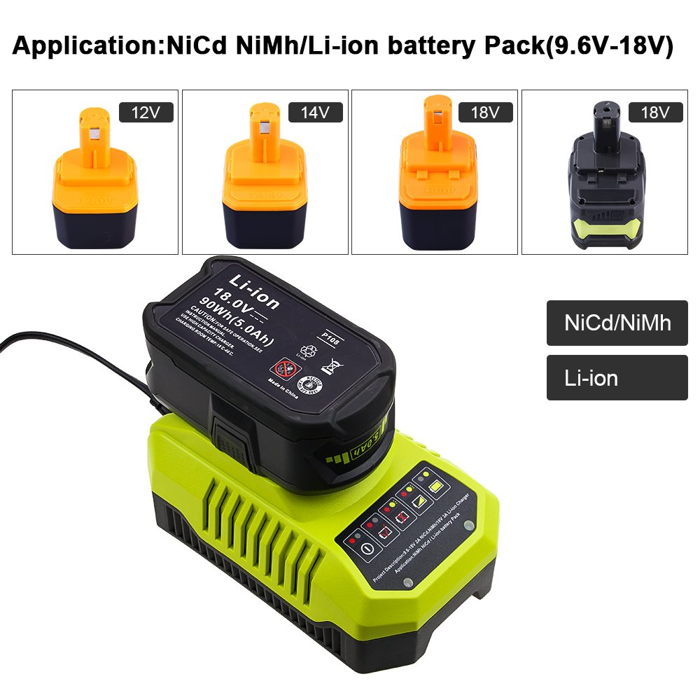 Replace Ryobi Charger for Ryobi 9.6v-18v P102 P105 P107 P117 P113 Charger One+ Dual Chemistry IntelliPort Lithium Ion and NiCad by GERIT BATT (Image #5)