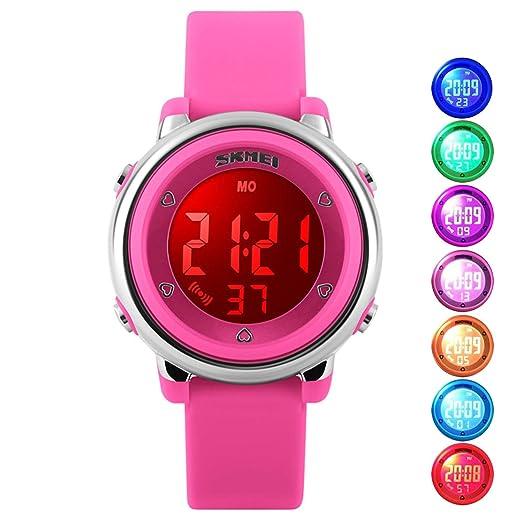 Resistente al agua reloj Digital de las niñas, niños deporte al aire libre tetera relojes coloridos luminiscente niños relojes de pulsera con alarma y ...