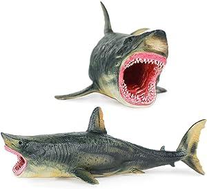 willway Megalodon Shark Toys, Educational Ocean Animal Megalodon Shark Figurine for Kids Birthday Realistic Shark Model for Shark Party Cake Topper