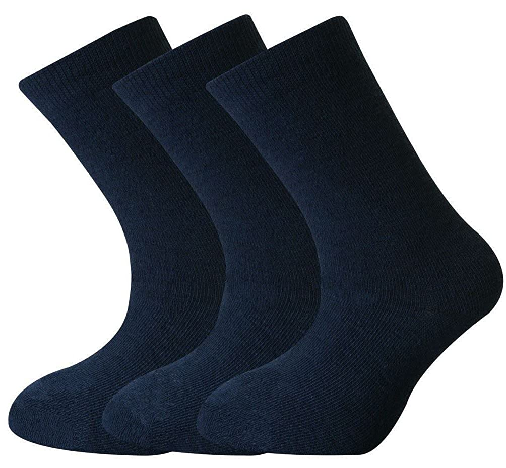 12 Pairs Boys Girls Short Ankle Cotton Rich Plain School Socks Navy Size 6-8 Years