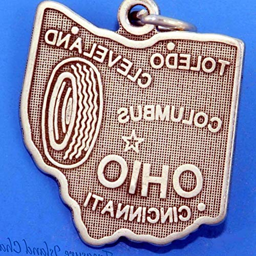 Lot of 1 Pc. Ohio State MAP Columbus Cleveland Cincinnati Toledo .925 Sterling Silver Charm Vintage Crafting Pendant Jewelry Making Supplies - DIY for Necklace Bracelet Accessories by -