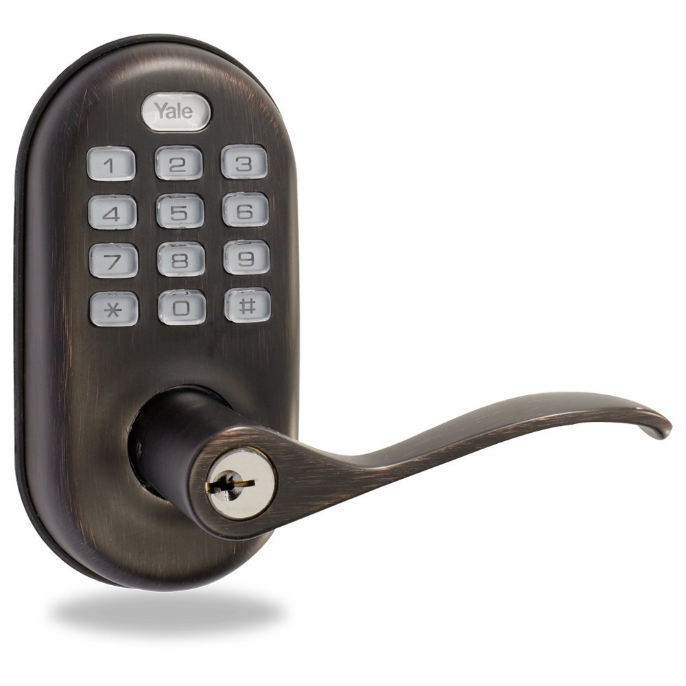 Yale Z-Wave Real Living Keyless Push Button Lever Lock, Works with Amazon Alexa via SmartThings, Oil Rubbed Bronze, YRL210-ZW-0BP by Yale Security