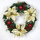 Christmas Garland for Stairs fireplaces Christmas Garland Decoration Xmas Festive Wreath Garland with Christmas wreath,golden wreath,60cm