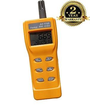 Medidor digital de CO2 de calidad de aire monitor gas analizador termómetro higrómetro higrómetro medidor de humedad 3-en-1 detector de CO2 AZ7755: ...