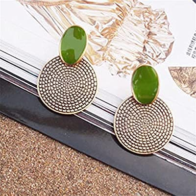 Ownsig Retro Big Drip Green Round Annual Ring Earrings Stud Carved Jewellery