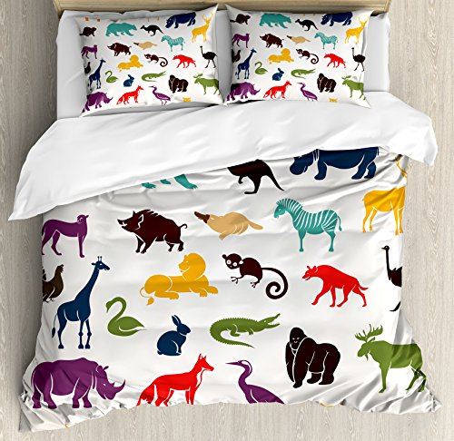 Ambesonne Zoo Queen Size Duvet Cover Set, African and European Animal Silhouettes in Cartoon Style Safari Wildlife Zoo Theme, Decorative 3 Piece Bedding Set with 2 Pillow Shams, Multicolor