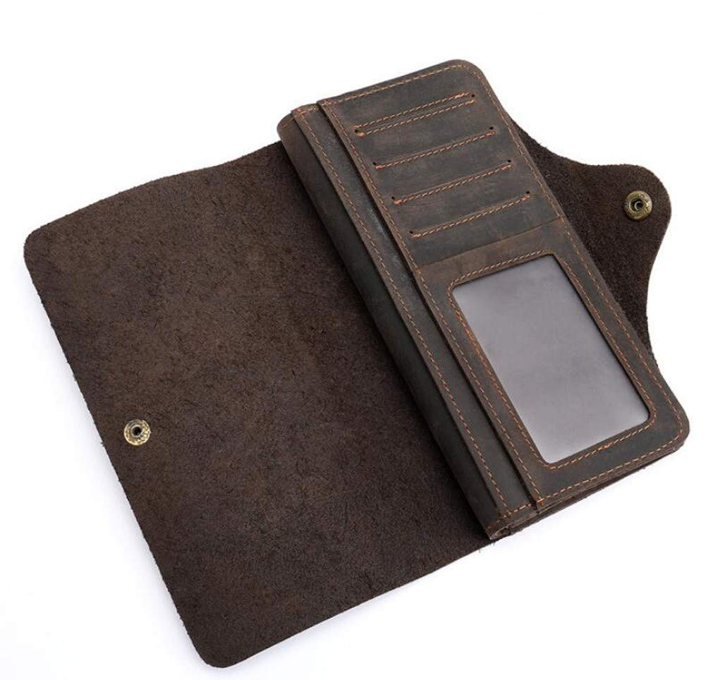 Rcnry Mens Leather Wallet Recreational Leather Retro-Leather Wallet Loose-Leaf Multi-Card Buckle Wallet