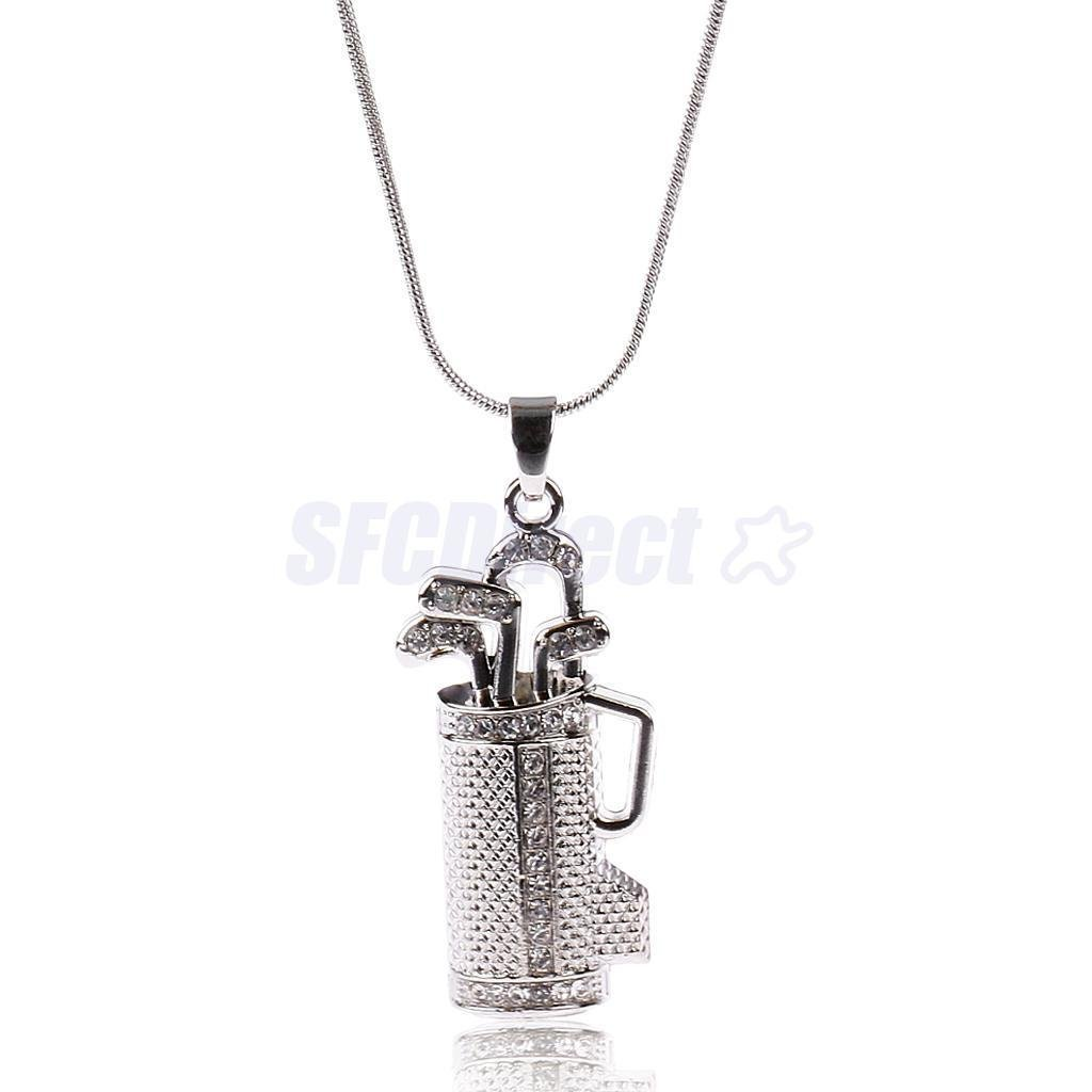 Silver Plated Sports Mom Jewelry Rhinestone Golf College Charms Necklace
