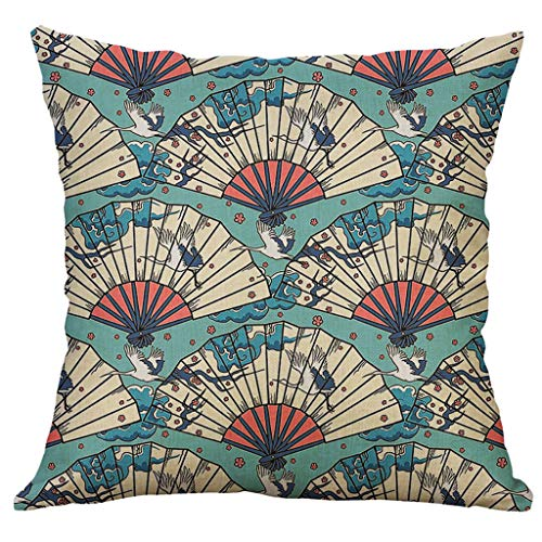 TOPBIGGER Japanese Wave Throw Pillow Cushion Cover, Artwork Greyscale Background Cotton Linen Square Throw Pillow Case…