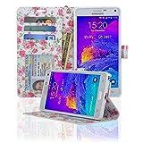 Navor Protective Flip Wallet Case for Samsung Galaxy Note 4 - (Rose)