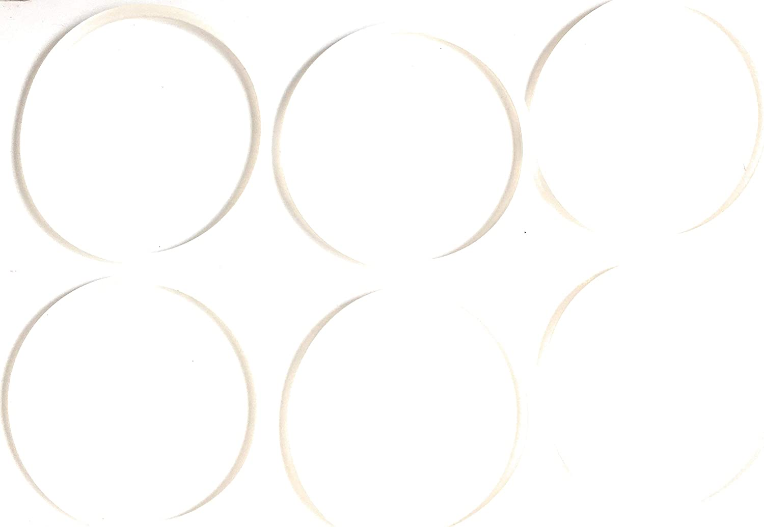 FAB INTERNATIONAL Replacement Gasket Compatible with Sensio Bella Cucina 13330, 13586, 13615, 10029, 3 Inch Diameter, 6 Pack White. (After Market Part)