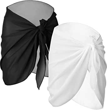 Chuangdi 2 Pieces Women Beach Wrap Sarong Cover Up Chiffon Swimsuit Wrap Skirts