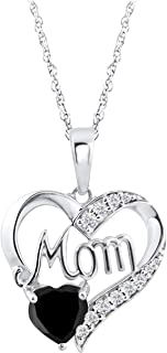 Mom Heart Birthstone Pendant Necklace Memorial Jewelry in 14k White Gold Over