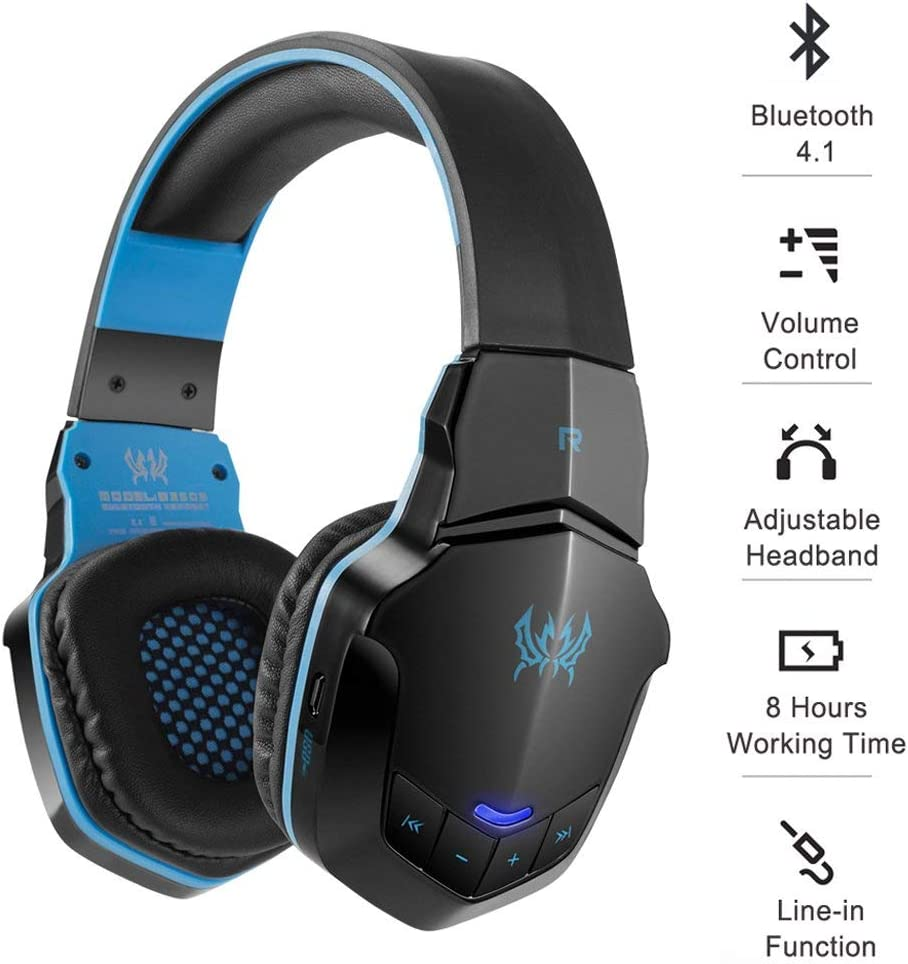 JASEJ Auriculares Bluetooth inalámbricos Gaming Auriculares PC Gamer Auriculares con micrófono luz LED para teléfono Celular/PC/Playstation 4/Nintendo Switch,C,PlayStation4: Amazon.es: Hogar