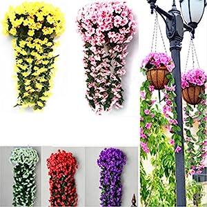Violet Artificial Decoration Simulation Valentine's Day Wedding Wall Hanging Basket Flower Orchid Silk Fake Flower White 3