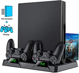 PS4 Vertical Stand Cooling Fan, BEBONCOOL PS4 Slim/Pro Stand Cooler with Dual Controller Charge Station, 16 Game Storage for PS4 Slim / PS4 Pro/Playstation 4