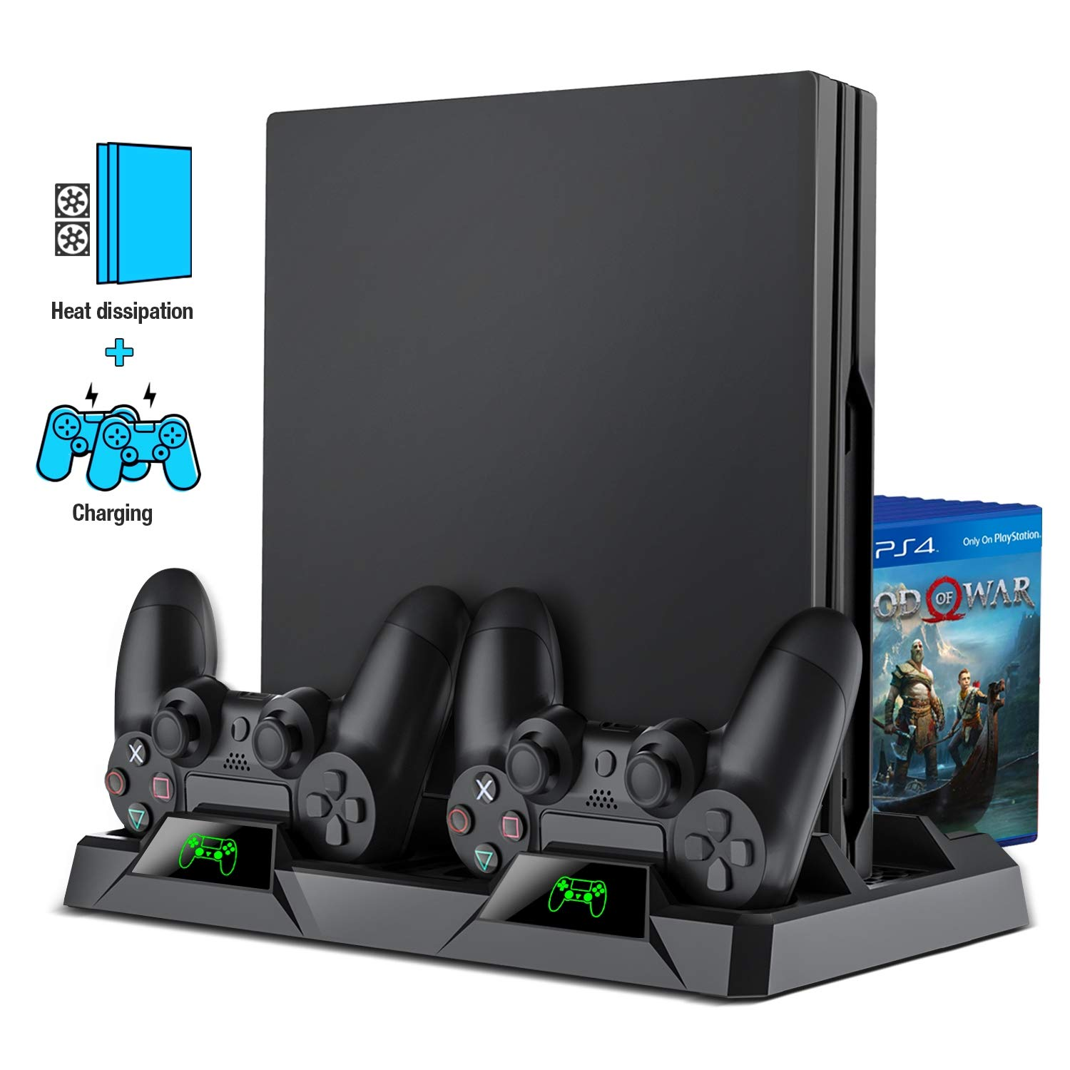 ESYWEN PS4 Slim/ PS4 pro/ PS4 Vertical Stand Cooling Fan, Dual PS4 Controller Charger with LED Indicator and Game Storage for PS4 Game Console by ESYWEN