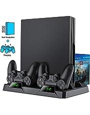 BEBONCOOL PS4 Supporto Verticale PS4 Stand Vertical PS4 Controller Charger All-in-One Ricarica PS4 Caricabatterie Caricatore PS4 Ventola di raffreddamento Pro per PS4 / PS4 Slim / PS4 Pro Accessori