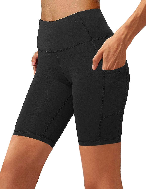 Aoliks Women's High Waist Yoga Short Side Pocket Workout Tummy Control Bike Shorts Running Exercise Spandex Leggings