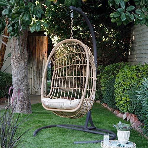 Natural Leisuregrow Outdoor Garden Wicker Rattan Hanging Egg Chair /& Cushions