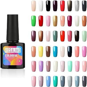 ROSALIND esmalte semipermanente de uñas UV LED esmalte conjunto de manicura Set de salón uñas,48pcs/Kit, 10ml…: Amazon.es: Belleza