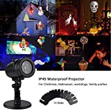 Waterproof Rotating Projector Lights 14 Pattern LED Moving Projector Landscape Stage Light Indoor Outdoor Decoration for Valentine's Day New Year Birthday Party Prom Dance