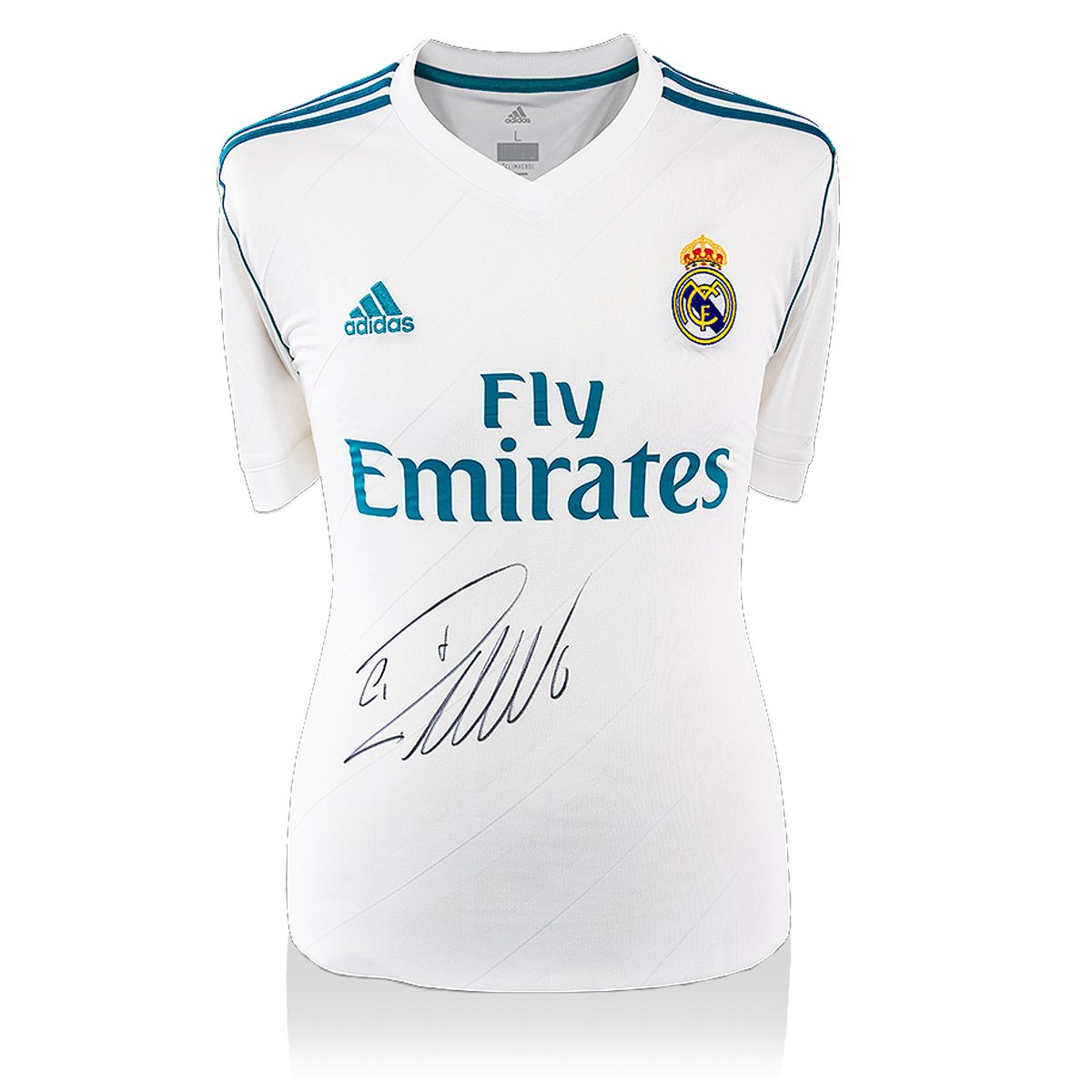 df53d1f33 Icons.com Real Madrid 2017-18 Home Shirt Personally Signed by Cristiano  Ronaldo (Front Signed)  Amazon.co.uk  Sports   Outdoors