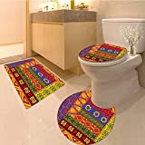 3 Piece Anti-slip mat setPrimitive Collection Funky Triba Pattern Depicting African Style Dance Moves and Inst Non Slip Bathroom Rugs