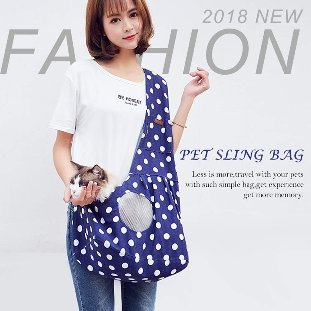iHOO Cat Sling Carrier Bag Small Dog Puppy Travel Tote Shoulder Carry Bag Portable Hands-Free Adjustable Sling Carrier with Breathable Mesh Design,1Pcs Blue