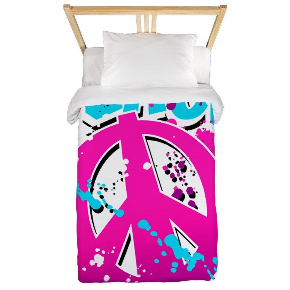 Twin Duvet Cover Peace Symbol Sign Splatter Neon