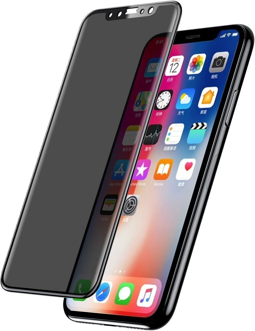 5.8 Inch iPhone x Screen Protector Privacy Tempered Glass Black Full Coverage Shield for Apple iPhone X iPhone 10