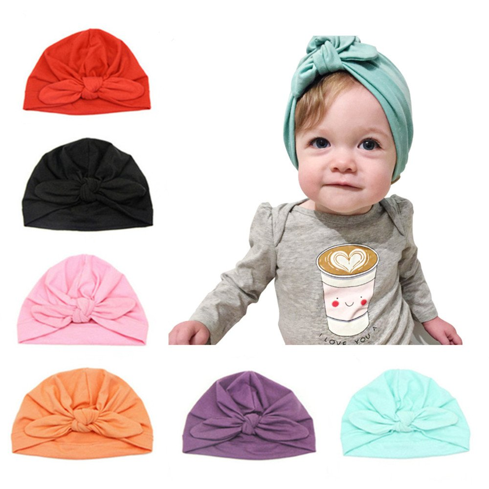 CANSHOW 6 Pcs Baby Hat for Girls Toddler Soft Cotton Turban Headwrap Newborn Accessory Cap for 3-12 Months