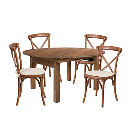 Offex 60 Round Solid Pine Folding Farm Dining