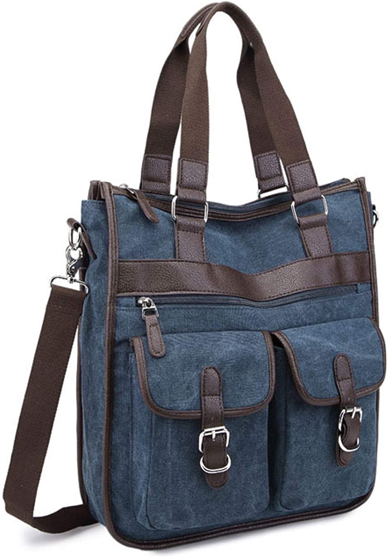ImIflow Vertical Briefcase Canvas Leather Laptop Shoulder Tote Bag Handbag