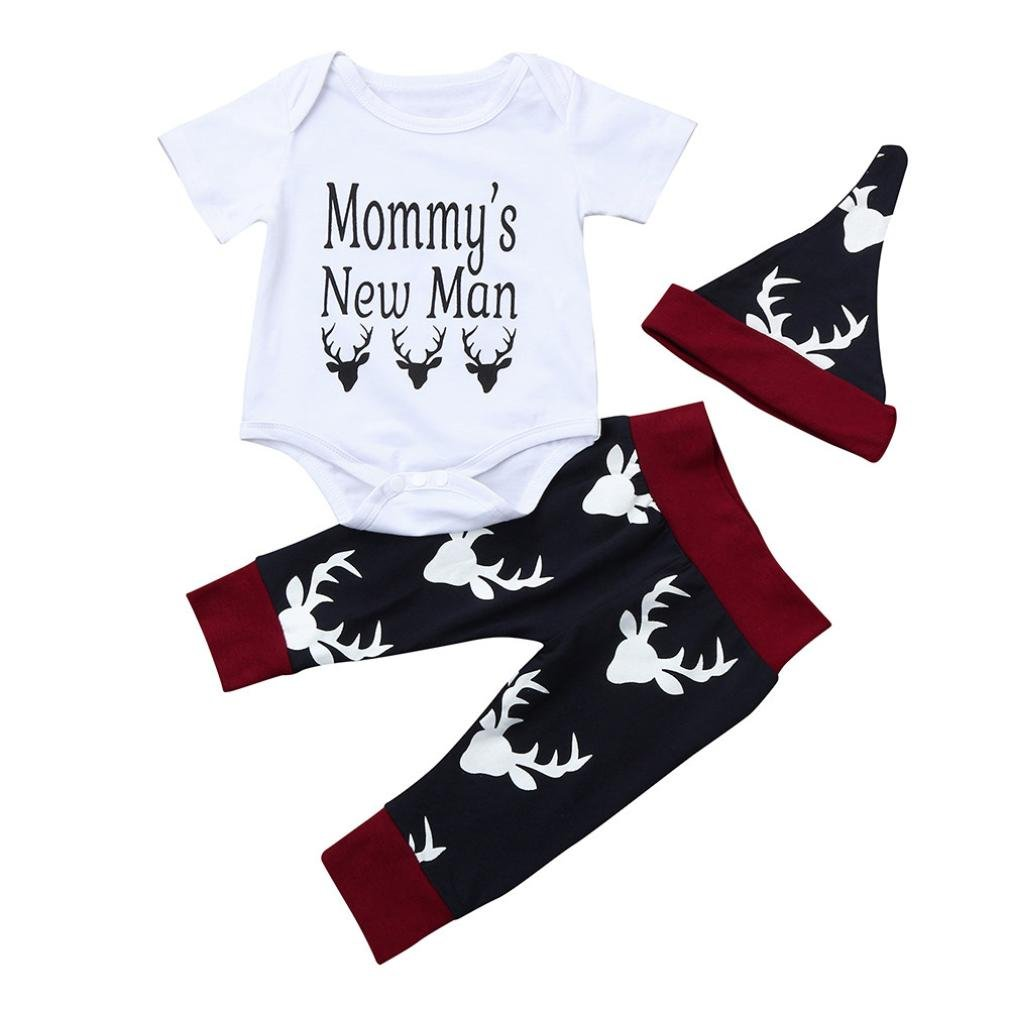 Perman 3PCS Newborn Baby Boy Short Sleeve Tops Pant Hat Outfits Clothes PM-919