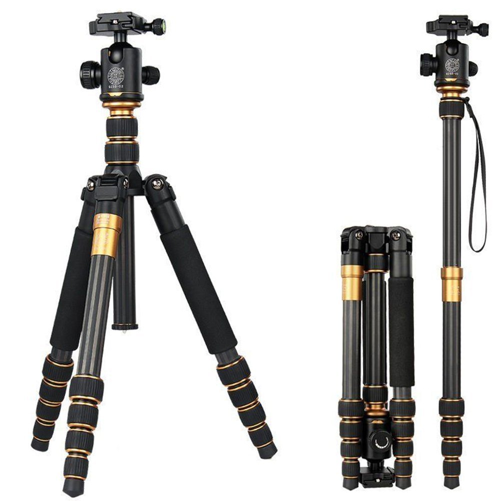 QZSD Q666C Portable Traveling Carbon Fiber Tripod Monopod Stand with Ball Head for Digital Camera and Camcorder Max Load 15KG