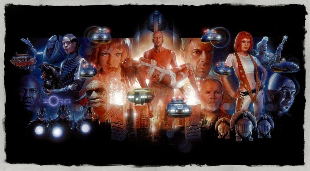 Twenty-three Bruce Willis Milla Jovovich Drawings Movies The Fifth Element 4 Sizes Silk Fabric Canvas Poster Print 24X36Inch