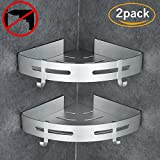 Gricol Bathroom Shower Shelf Triangle Wall Shower Caddy Space Aluminum Self Adhesive No Damage Wall Mount, 2 Pack