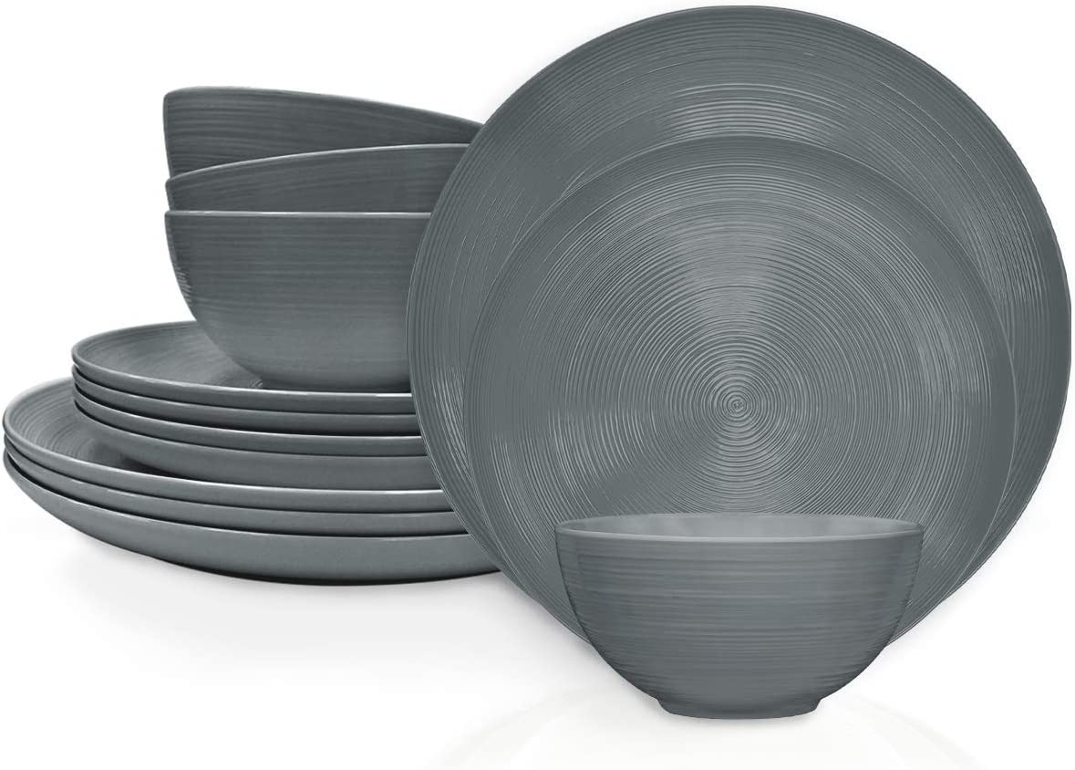 Zak Designs American Conventional Melamine Dinnerware Set Includes Dinner Plates, Salad Plates, and Individual Bowls, Durable and BPA Free (Charcoal, 12-Piece Dinnerware Set, Service for 4)