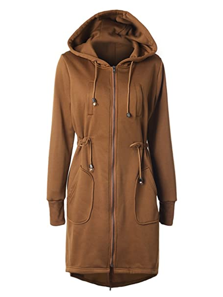 4d5bb7f90 Choies Women Navy Zip Up Fleece Mid-Long Drawstring Safari Anorak Hooded  Jacket at Amazon Women's Coats Shop