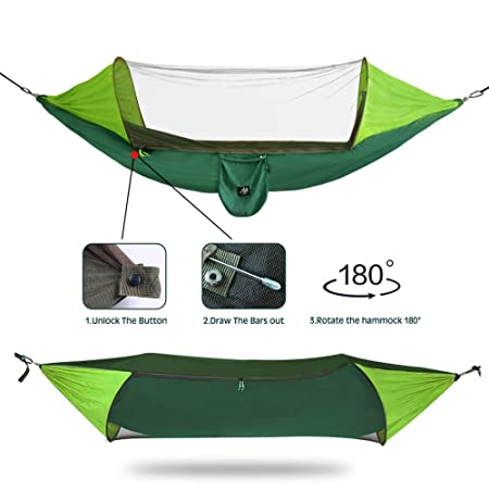 AYAMAYA 2 in 1 Camping Hammock with Mosquito Net Sunshade Cloth Tree Straps for 2 Double Person, Portable Parachute Nylon Lightweight Big Pop Up Swing Hammock with Bug Insect Netting