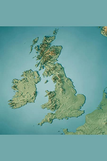 3d Map Of England.Amazon Com United Kingdom England Country 3d Rendering Topographic
