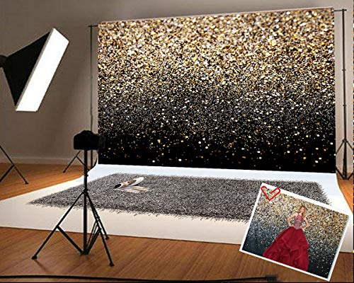 7x5ft (220x150cm) Microfiber Gold Spot Photography Backdrops Wedding Photo Booth Prop Bridal Show Background for Picture Graduation Prom Party Backdrop Black Sequin Pattern Fabric Backdrops -