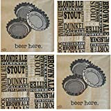 FAKKOS Design Funny Cocktail Napkins Men Beer Themed Variety Pack 40 Total Paper Napkins