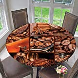 "Mikihome Elasticized Table Cover Grinder Coffee Beans Chocolate Cocoa and Cinnamon Vintage Macro Collage Brown Orange Machine Washable 31.5""-35.5"" Round (Elastic Edge)"