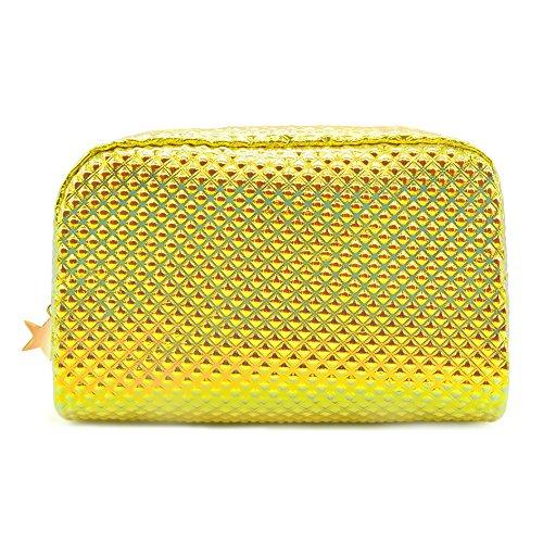 Cosmetic Bag Makeup Bag Toiletry Travel Bag Handy Large Protable Wash Pouch Waterproof Zipper Handbag Carry Case Organizer (shiny gold)