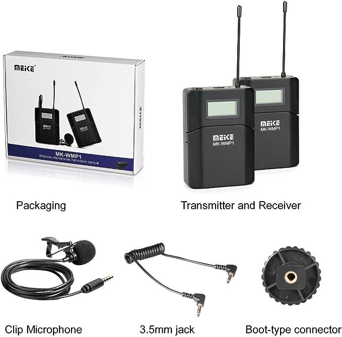 Meike - mk-wmp1 inalámbrico Multi canal UHF micrófono de solapa omnidireccional para Canon Nikon Sony DSLR Cámaras de vídeo y más con Adison Tek ...