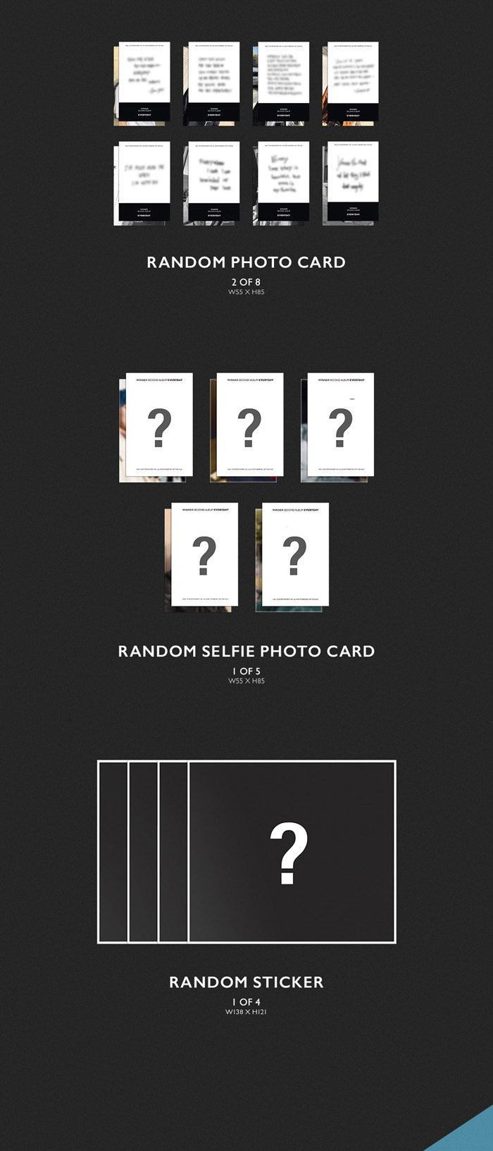 WINNER [EVERYD4Y] 2nd Album 2 Ver SET+P.Book+P.Card+Card+Sticker+etc+Tracking Number K-POP SEALE