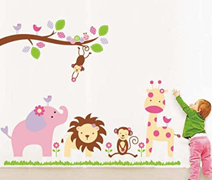 Decals Design 'Baby Cartoon Animal Kingdom Kids' Wall Sticker (PVC Vinyl, 50 cm x 70 cm), Multicolour